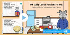 Mr Wolf Cooks Pancakes Song PowerPoint to Support Teaching on Mr Wolf's Pancakes