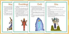 Ancient Sumer Gods and Goddesses Fact Posters