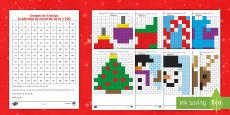 Sărbătoarea Crăciunului - Colorează după codul numerelor în concentrul 1 100