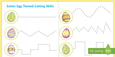 Easter Egg Themed Cutting Skills Activity Sheet