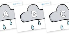 A-Z Alphabet on Weather Symbols (Rain)