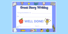 Great Story Writing Certificates