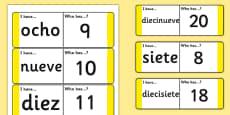 Tarjetas de buscar y emparejar Números de 21 a 31
