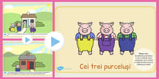 The Three Little Pigs Story PowerPoint Romanian