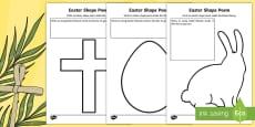 * NEW * Easter Shape Poem Activity Sheet