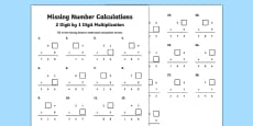 Missing Number Calculations 2 Digits by 1 Digit Multiplication Activity Sheet