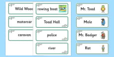 The Wind in the Willows Word Cards