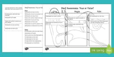 Deaf Awareness   True or False Cut and Stick Activity