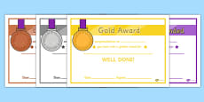 General Medals Award Certificates (Gold Silver and Bronze)