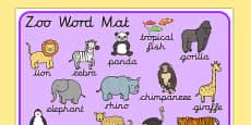 Zoo Word Mat Cursive