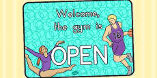 Gym Role Play Open Sign (Australia)