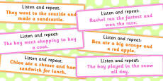 Listen and Repeat 8-9 Word Length Sentence Cards