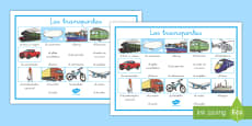 Transport Word Mat Spanish