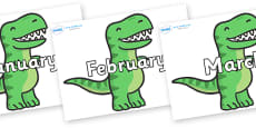 Months of the Year on T Rex Dinosaurs