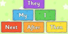 Sentence Starters on Multicoloured Bricks