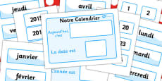 Our Classroom Calendar French Version