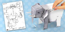 3D Elephant Paper Model Activity