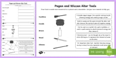 Pagan Wiccan Altar Tools Differentiated Activity Sheets