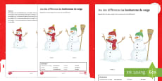 Snowman Spot the Differences Activity Sheet