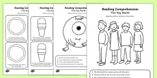 Reading Comprehension Five Key Word Activity Sheet Pack