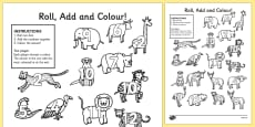 Safari Roll and Colour Activity Sheets