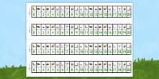 Minibeasts Number Track (1-20)