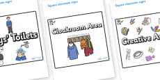 Space Themed Editable Square Classroom Area Signs (Plain)