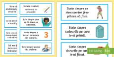 Scriere creativă Cartonașe cu provocări