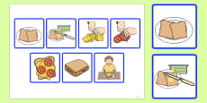 7 Step Sequencing Cards Making a Sandwich