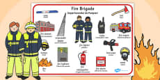 Fire Brigade Word Mat Romanian Translation