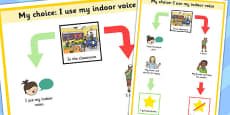 My Choice I Use My Indoor Voice Student Support Sign