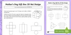 Mother\'s Day Gift Box 3D Net Design Activity Sheet