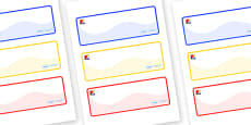 Mondrian Themed Editable Drawer-Peg-Name Labels (Colourful)