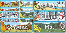 Months of the Year With Seasons Theme Display Posters Cymraeg