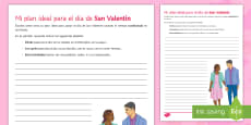 My Ideal Plan for Valentine's Day Writing Activity Sheet Spanish