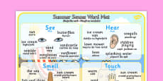 Summer Senses Word Mat Romanian Translation
