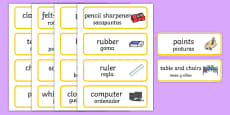 Classroom Word Cards Spanish Translation