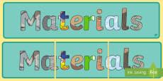 Materials Display Banner