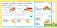 Fine Motor Handwriting Warm Up Exercise Cards English/Romanian