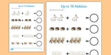 The Mitten Up to 10 Addition Sheet