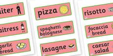 Italian Restaurant Role Play Word Cards