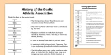 History of the GAA Timeline Matching Activity