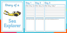 Sea Explorer Diary Writing Frames (Under the Sea)