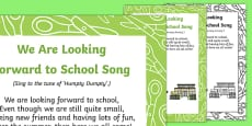 We Are Looking Forward to School Song