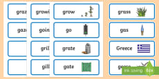 'gr' and 'g' Near Minimal Pair Word Cards