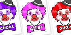 KS1 Keywords on Clown Faces