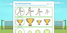 Wimbledon Size Matching Activity Sheets