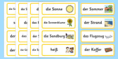 Summer Topic Word Cards German