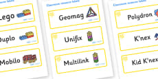 Yellow Themed Editable Construction Area Resource Labels
