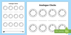 * NEW * Analogue Clock Template Activity Sheet